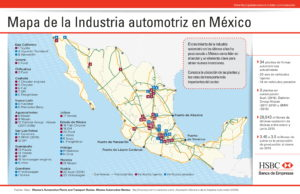 Map of Automotive industry in Mexico