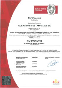 Aleaciones Estampadas, S.A. (AESA) has been certified since 2005 in ISO 9001-2015