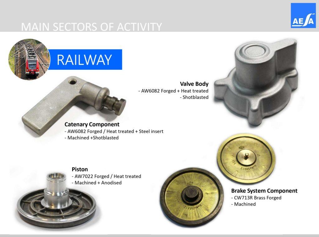 Railway parts manufactured in AESA